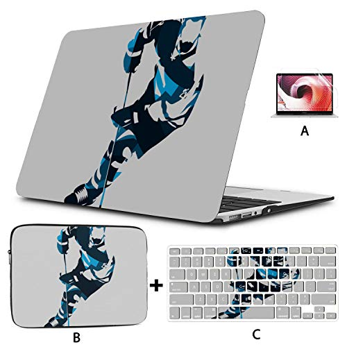 MacBook Pro Computer Case Ice Hockey Hockey Enthusiast MacBook Cover Hard Shell Mac Air 11'/13' Pro 13'/15'/16' with Notebook Sleeve Bag for MacBook 2008-2020 Version