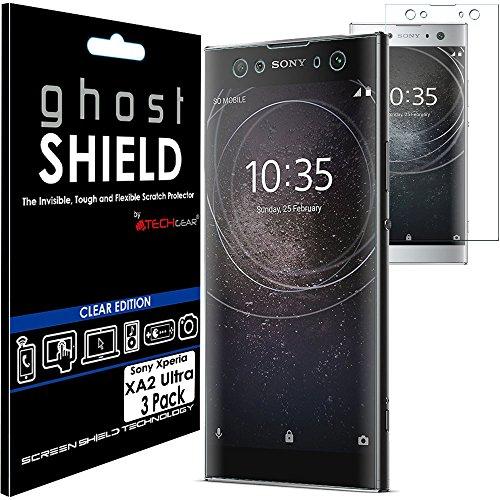 TECHGEAR [3 Pezzi Pellicola Protettiva Compatibile con Sony Xperia XA2 Ultra [Edizione ghostSHIELD] Proteggi Schermo Rainforzata Flessibile TPU Pellicola per Schermo Intero Incluso Schermo Curvo