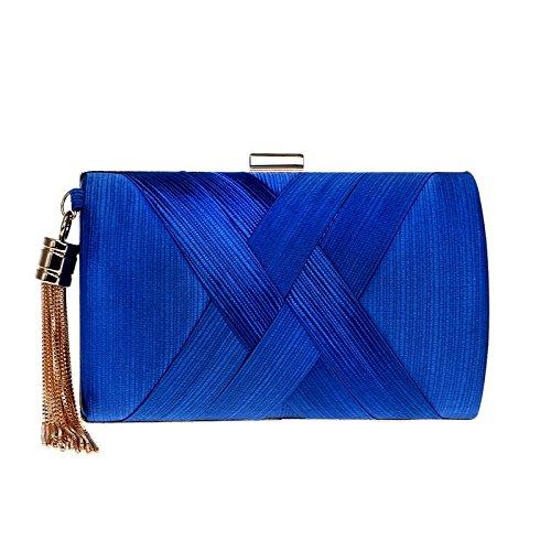 QSM Fringe Abendtasche, Damen Seidenkleid Abend Kupplung, Langlebig Und Langlebig Temperament Tasche,Blau,A