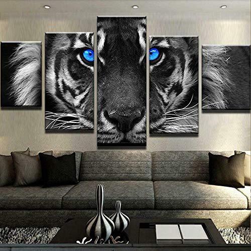 13Tdfc Cuadro En Lienzo, Imagen Impresión, Pintura Decoración, Canvas De 5 Pieza, 150X80 Cm,Tigre De Ojos Azules Mural Moderno Decor Hogareña