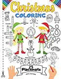 Christmas Coloring Placemats: 25 Xmas Coloring Book Placemats for Kids   This Christmas Elves Coloring Activity Book Includes: WordSearch, Unscramble ...   Large (7 games in 1) Print Size Book Gift