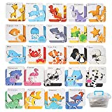 WISESTAR 24 Pack Wooden Matching Game Flash Cards for Toddlers 2-4 Years, Kids Jigsaw Peg Puzzle Toy Set with Sea, Safari Animals, Dinosaur Name, Educational Preschool Toy Christmas Birthday Gift