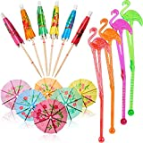 48 Pieces Flamingo Cocktail Stirrers Swizzle Sticks Paper Umbrella Sticks for Drinks Wedding Summer Party Food Drink Decorations Cocktail <span class='highlight'><span class='highlight'>Accessories</span></span>, Mixed Color