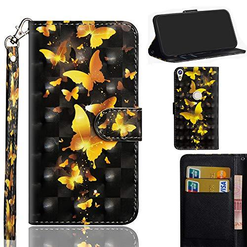 Ooboom Alcatel Shine lite 5080X Hülle 3D Flip PU Leder Schutzhülle Handy Tasche Case Cover Ständer mit Trageschlaufe Magnetverschluss für Alcatel Shine lite 5080X - Gold Schmetterling