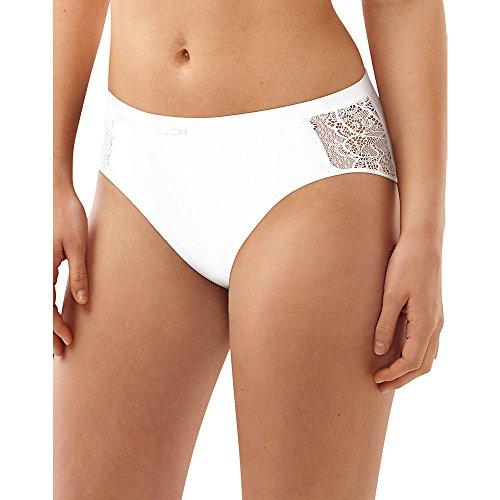 Bali Women's Cotton Desire W/ Lace Hi Cut, White, 7