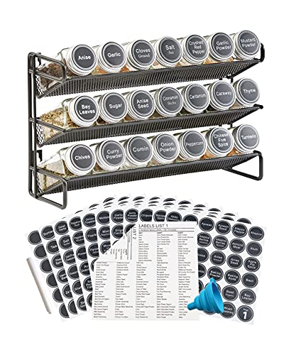 3 Tier Spice Rack Organizer with 21 Empty Spice Jars, 386 Spice Labels, Chalk Marker and Funnel Set for Countertop Cabinet Pantry or Wall Door Mount