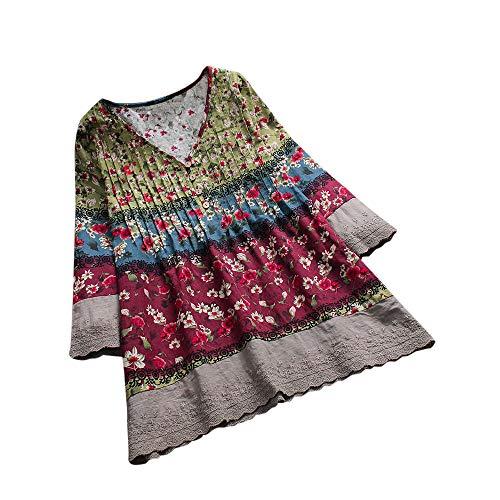 VEMOW Sommer Herbst Elegante Damen Plus Größe Dot Print Lose Baumwolle Casual Täglichen Party Strandurlaub Kurzarm Shirt Vintage Bluse Pulli(X7-Weinrot, 46 DE / 3XL CN)
