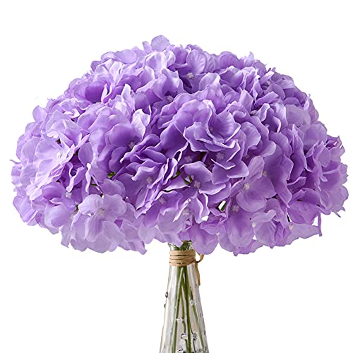 Aviviho Hydrangea Silk Flowers Heads Pack of 10 Lilac Full Hydrangea Flowers Artificial with Stems for Wedding Home Party Shop Baby Shower Decoration
