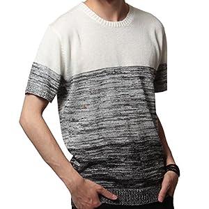 SOYOUS(ソユーズ)ニット クルーネック ニット トップス メンズファッション サマーニット メンズ ニット 半袖 Vネック 男性L-グラデ-クルーネック-ネイビー