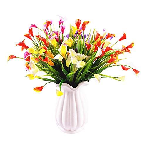KIRIFLY Künstliche Blumen,Künstliche Pflanzen Im Freien 6er Packungen Unechte Blumen Deko Plastikblumen Gefälscht Calla-Lilie Faux Plant UV-beständig Grün für die Garten-Heimdekoration (Bunt)