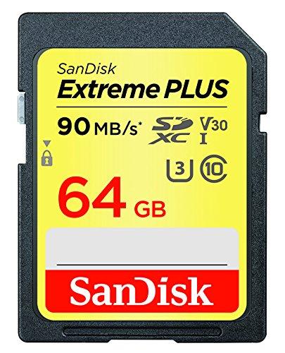 SanDisk Extreme Plus - Tarjeta de Memoria SDXC de 64 GB, hasta 90 MB/s, Class 10, U3, V30