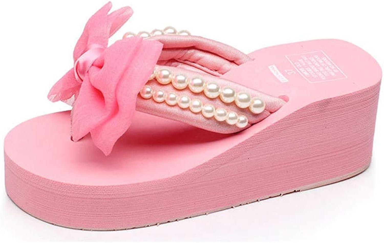 T-JULY Women Summer Platform Sweet Butterfly-Knot Slippers Female Wedges String Bead Beach Flip Flops High Heel Slippers