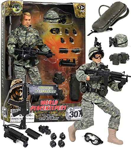 Click N' Play CNP30442 Military Airborne Infantry Troop 12'' Action Figure Play Set with Accessories,Brown/A
