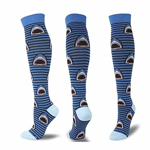 XJJZS Tubo Largo Calcetines Informales de compresión Hombres Mujeres viaja Medias de compresión Calcetines de compresión (Color : F, Size : Large)