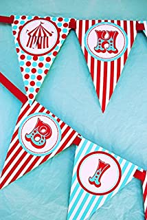 Circus Carnival Happy Birthday Banner Pennant