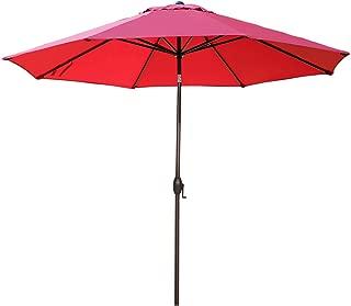 Abba Patio 11-Feet Patio Umbrella Outdoor Table Umbrella with Push Button Tilt and Crank, Red