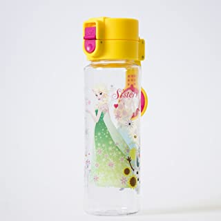 Disney Push Cap Tritan Bottle BPA-Free - Frozen Elsa Anna Olaf (Sisters Share The Gift Of Love), Yellow Pink, 450ml, FRBO-450PC1508YP