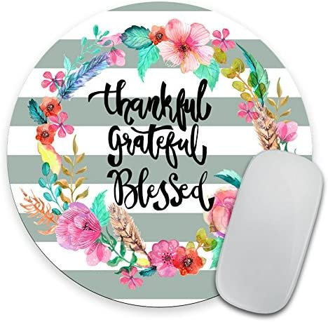 Whimsical Quote Mousepad Thankful Grateful Mousepad Mat Personalized Quote Office Decor Desk product image