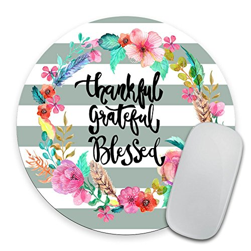 Whimsical Quote Mousepad Thankful Grateful - Mousepad Mat Personalized Quote Office Decor Desk Accessories Mousepad
