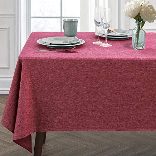 JUCFHY Rectangle Table Cloth,Linen Solid Tablecloth Heavy Duty Fabric,Stain Resistant,Water Resistant Washable Table Cloths,Decorative Oblong Table Cover for Kitchen,Holiday(60x84 Inch,Maroon)