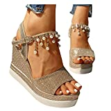 Xudanell Sandalias Platform Sparly Pearl Studded Platform Rubber Sole Wedges Sexy Casual Ankle Buckle Sandalias para Mujer Gold