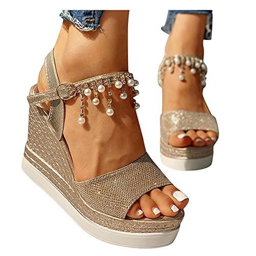 Rodam Bead Wedge Sandals Casual Open Toe Plataform Heel Sandals Fashion Comfortable...