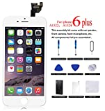 Full Assembly for iPhone 6 Plus Screen Replacement White LCD Touch Digitizer Display with Front Camera+Ear Speaker+Facing Proximity Sensor+Repair Tools and Free Screen Protector