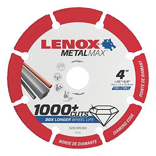 LENOX Tools METALMAX Cut Off Wheel, Diamond Edge, 4-Inch x 5/8-Inch (1972920)