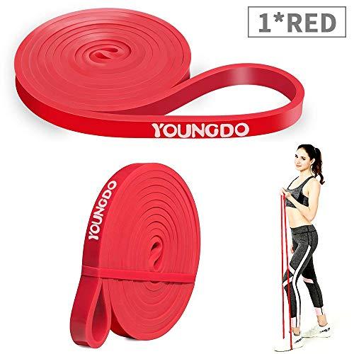 YOUNGDO Bandas de Resistencia Cintas Elásticas Fitness para Musculación, Yoga, Crossfit, Entrenamiento de Fuerza, Pilates, Fisioterapia Material de Látex (Rojo)