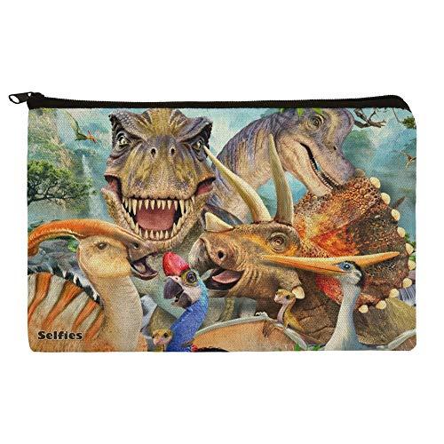 Dinosaur Jurassic Selfie T-Rex Triceratops Brontosaurus Pterodactyl Parasaurolophus Pencil Pen Organizer Zipper Pouch Case