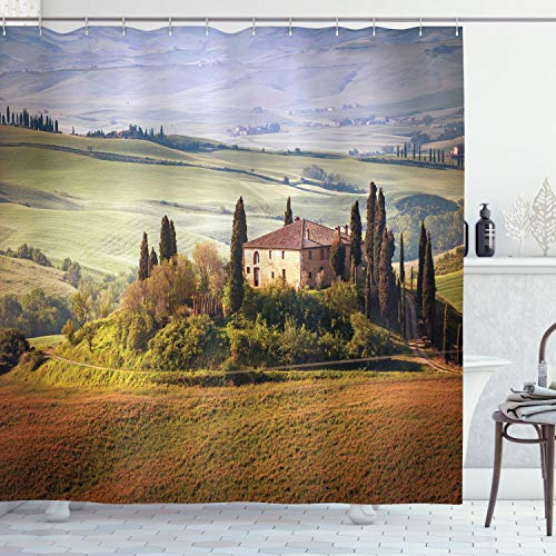 """Ambesonne Tuscan Shower Curtain, Tuscany Seen from Stone Village of Montepulciano Italy in Cloudy Day, Cloth Fabric Bathroom Decor Set with Hooks, 70"""" Long, Green Brown"""