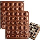 Achruor 2 moldes de silicona para chocolate Candy Gummy, redondos, cuadrados, para hornear cubitos de hielo, para tartas, magdalenas, cupcakes