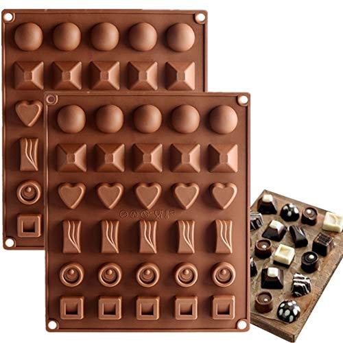 Achruor 2 Stück Silikon Schokolade Formen, Candy Gummy Silikonform, Rund Herz Viereck Backen Formen Eiswürfelform, für Kuchen Muffin Cupcake