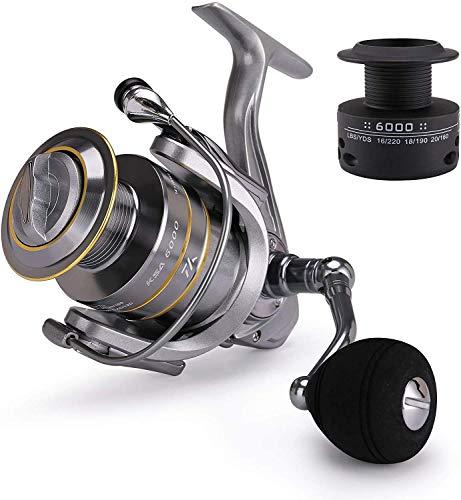 hufut Carretes de Pesca Carrete Giratorio de Agua Salada con 14 + 1 rodamientos de Bolas Carrete de Repuesto de Grafito Gratis(7000)