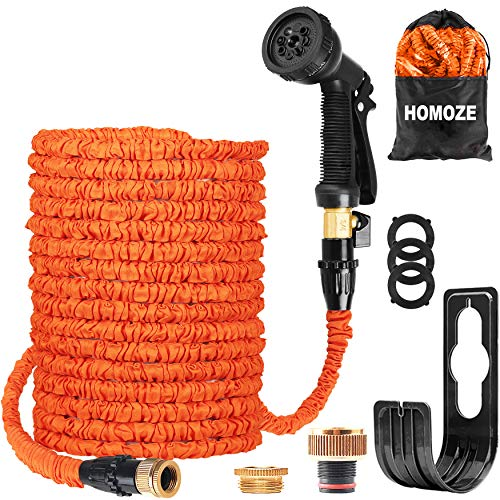 HOMOZE Garden Hose Expandable Hose Pipe 100FT Flexible and Expanding Garden Water Hosepipe With Brass Fittings/8 Function Spray Nozzle/Hose Hanger-For Garden, Watering, Cleaning