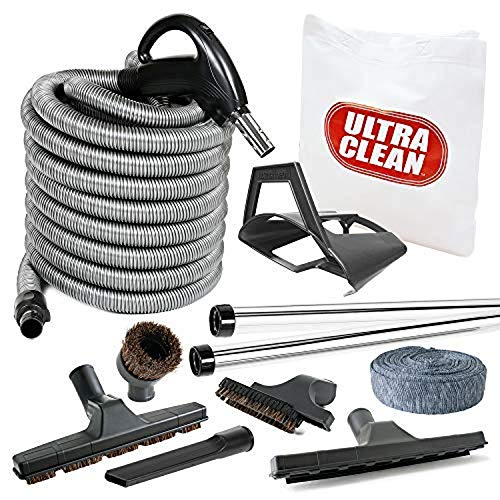 Hose Cover White, 30 ft Storage Tool Caddy LOADED WITH BONUS ULTRA CLEAN Central Vacuum BEST Hardwood Accessory Kit Telescopic Wand Dust Mop Low Voltage 24 V Hose with on//off Switch Swivel Handle Deluxe Tool Set