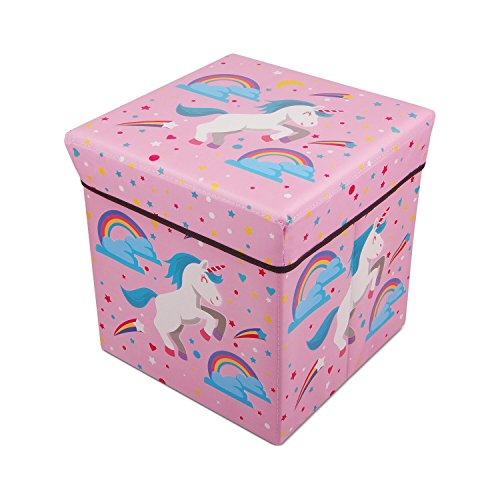 Foldable Cube Storage Toy Box - Folding Storage Ottoman Bedroom Stool Seat Children for Kids & Toddlers (Pink)
