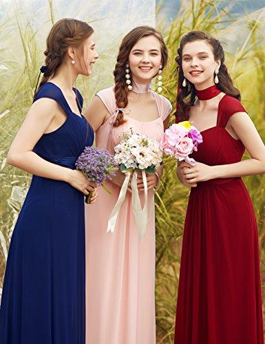 Ever-Pretty Vestido de Fiesta Noche Dama de Honor Mujer Largo Gasa Imperio Rosa 38