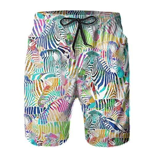 Boys Big & Tall Classic-Fit Swim Trunks for Beach, Gym, Hiking - Zebra Rainbow Full Elastic Waist Board Shorts Hip Hop Fast Dry Full Elastic Drawstring Underwear