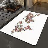 Alfombra Antideslizante Alfombra,Mapa del mundo floral, floral planeta tierra con flores guirnalda botáni,Espuma de Memoria Piso Baño Alfombra Absorber Alfombra de baño Suave Alfombra de baño 50x80 cm