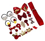 Baby Girl Hair Accessories Gift 18Pcs Kids Hair Accessories Red Toddler Hair Clips Small, Hair...