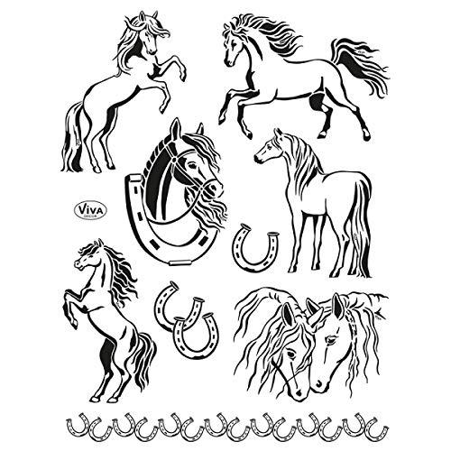 Viva Decor®️ Clear-Stamps (Pferde) Silikon Stempel - Prägung Stempel - DIY Dekoration stanzen - Stempel Silikon - DIY Stamp - Stempel Prägung - Made in Germany