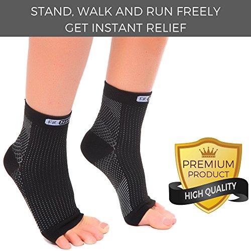 FIT NATION - (2 Paar Kompressionssocken/Fußgelenk Bandage für effektive Kompression beim Laufen & Sport - Kompressionsstrümpfe für Damen & Herren Schwarz S/M - 4