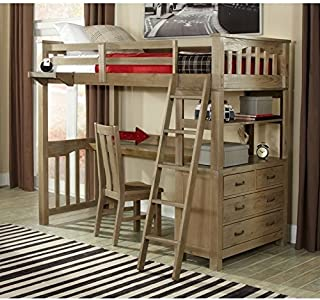 NE Kids Highlands Twin Loft Bed with Desk and Shelf in Driftwood