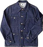 Tellason Stock Made in USA Men's 14 oz Cone Mills White Oak Denim Coverall Jacket Chore Coat (XL)