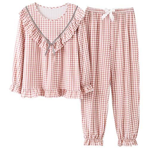 DFDLNL Conjunto de Ropa de Dormir de algodn para Mujer, Conjunto de Pijama con Cuello Vuelto Rosa, Pijamas para Mujer, Pijamas para Mujer, Pijamas de Talla Grande L