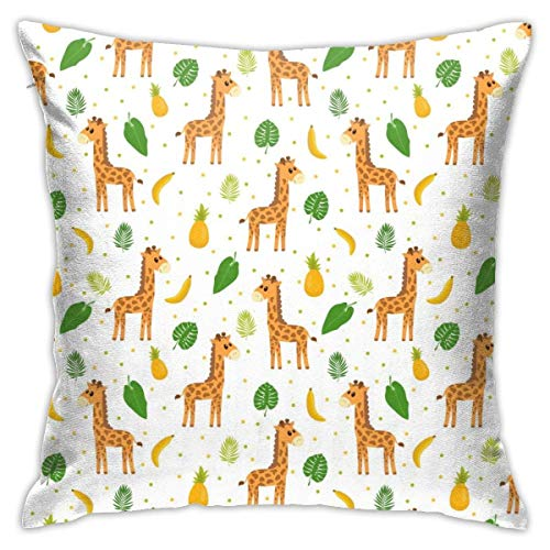 Throw Pillow Cover Cushion Cover Pillow Cases Decorative Linen Giraffe Pineapple And Palm Leaves for Home Bed Decor Pillowcase,45x45CM