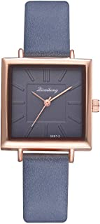 Hessimy Womens Fashion Watches New Ladies Business Bracelet Classic Luxury Square Watch Sport Casual Simple Leather Band Girls Gift Retro Analog Quartz Wrist Watches for Women On Sale