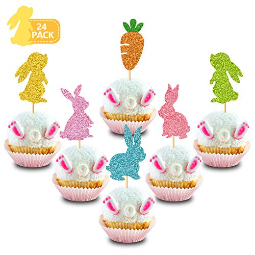 Bunny Rabbit Cupcake Topper Carrot Cake Decoration for Happy Easter Festival Spring Theme Kids Girls Boys Birthday 1st 2nd Bday Wedding Party Supplies Glitter Decor 24 Pack