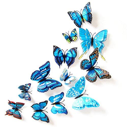 Oblique-Unique 3D Schmetterlinge Doppelflügel Effekt Blumen 12er Set Dekoration Wandtattoo (Blau)
